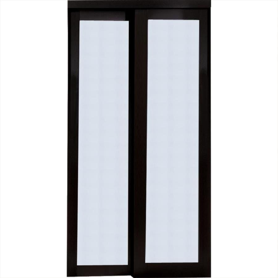 Shop reliabilt 1 lite frosted glass sliding closet for Glass sliding entrance doors