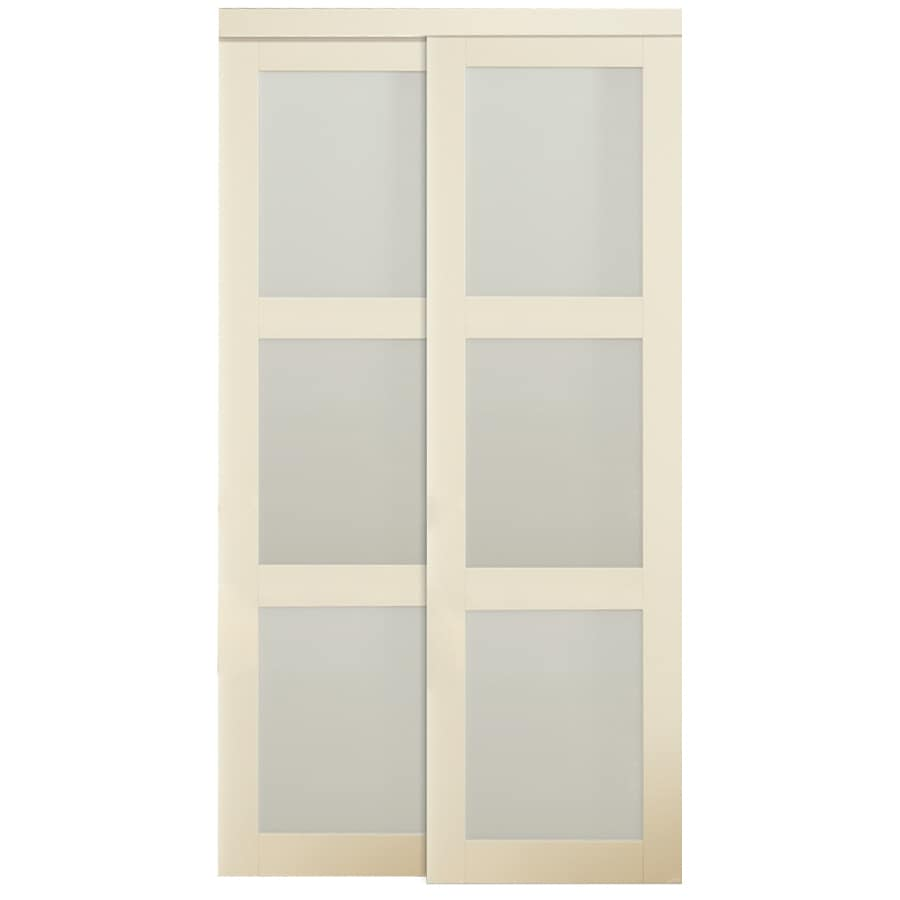 Glass interior doors lowes - Reliabilt 3 Lite Frosted Glass Sliding Closet Interior Door Common 72 In