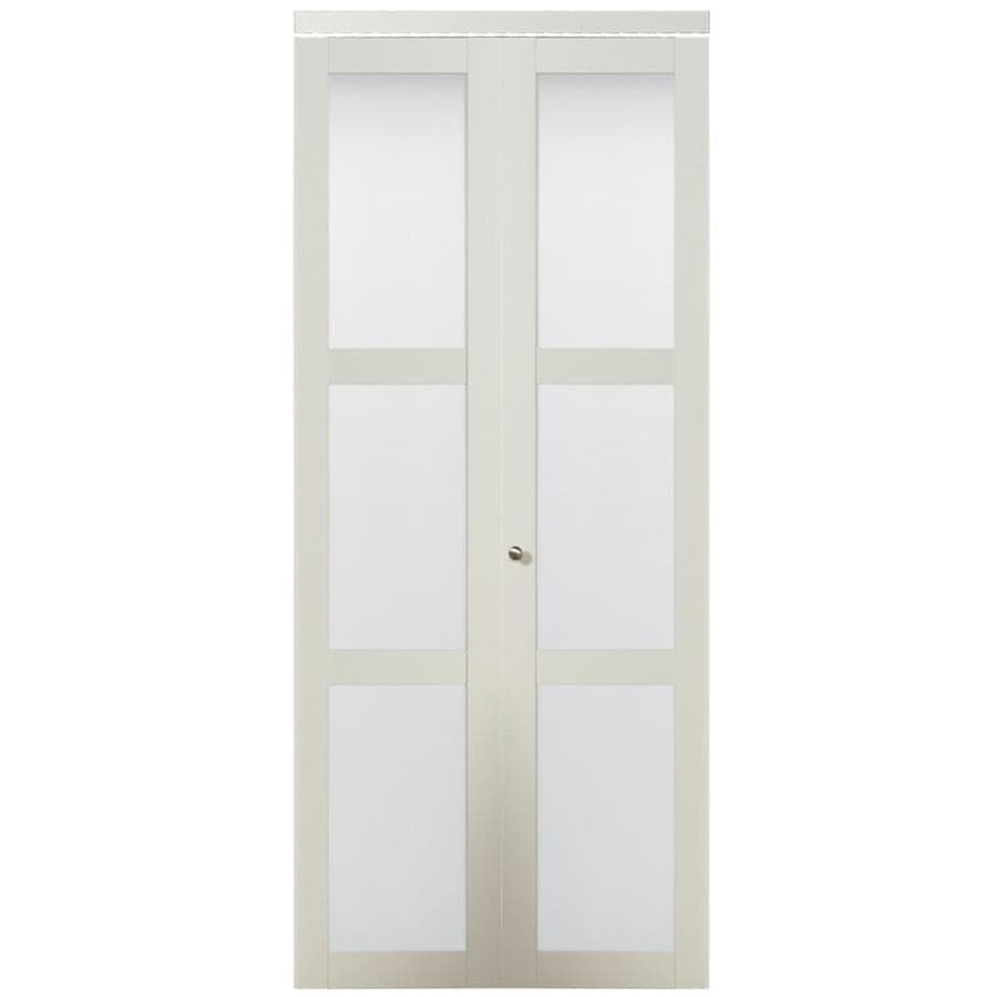 Shop reliabilt off white 3 lite frosted glass bi fold closet interior door common 30 in x 80 Interior doors frosted glass