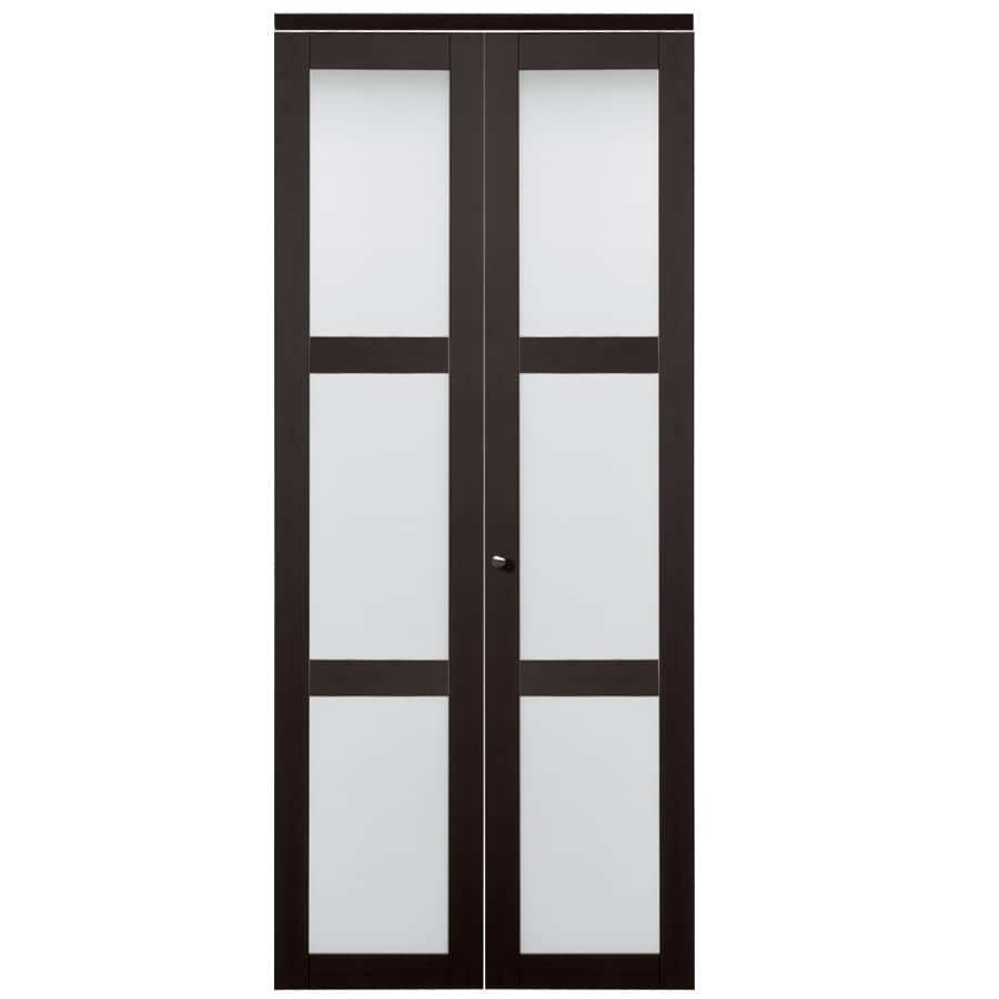 Shop reliabilt 24 in x 80 in espresso 3 lite tempered frosted glass interior bifold closet door for 5 panel frosted glass interior door
