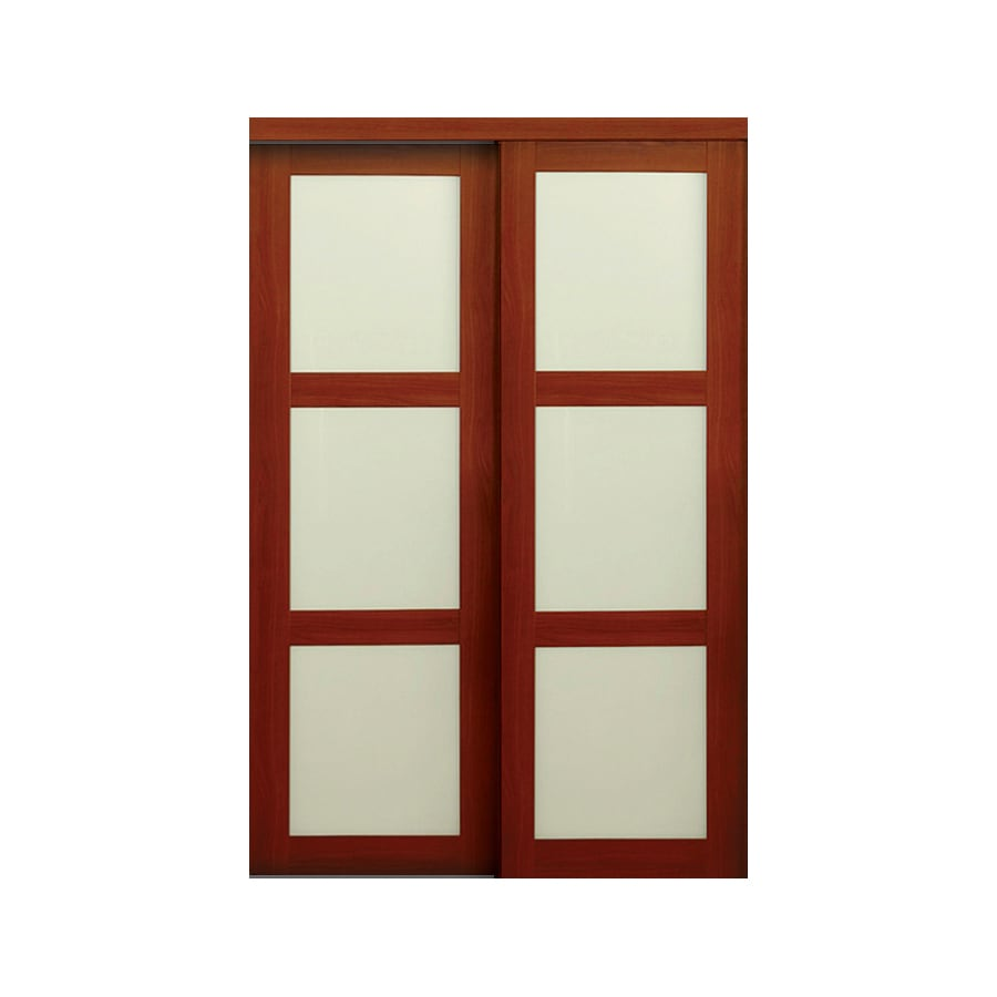 Shop Reliabilt Frosted Glass Mdf Sliding Closet Interior Door With Hardware Common 48 In X 80