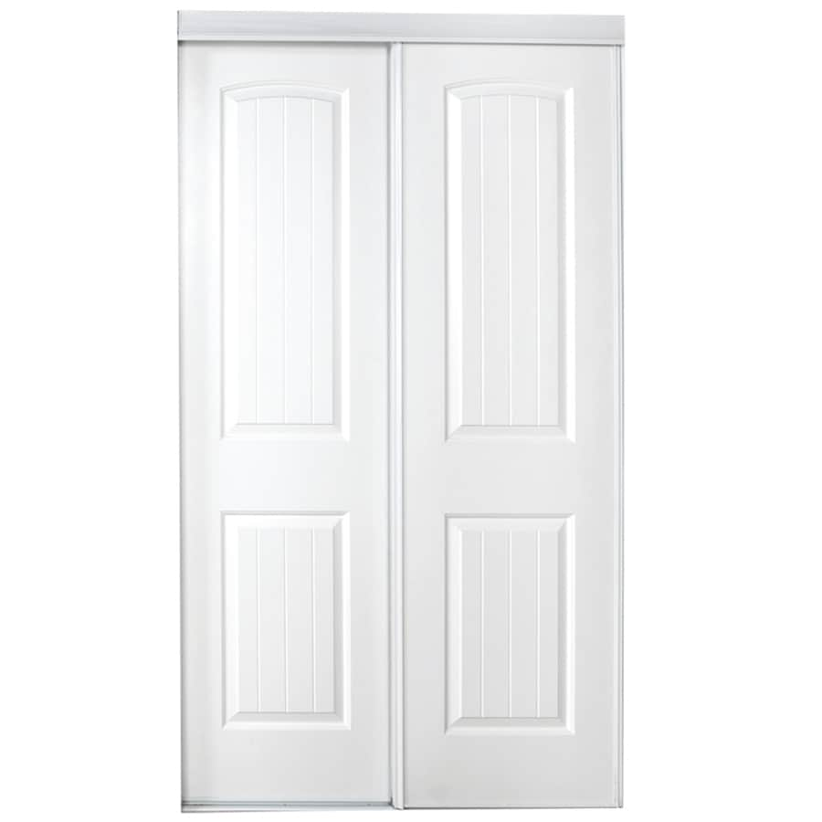 Shop reliabilt white 2 panel round top sliding closet for Sliding panel doors interior