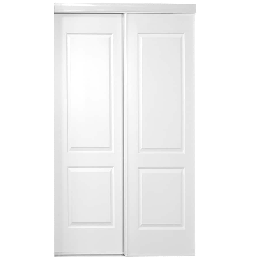 ReliaBilt White 2-Panel Square Sliding Closet Interior Door (Common: 60-in x 80-in; Actual: 60-in x 78-in)