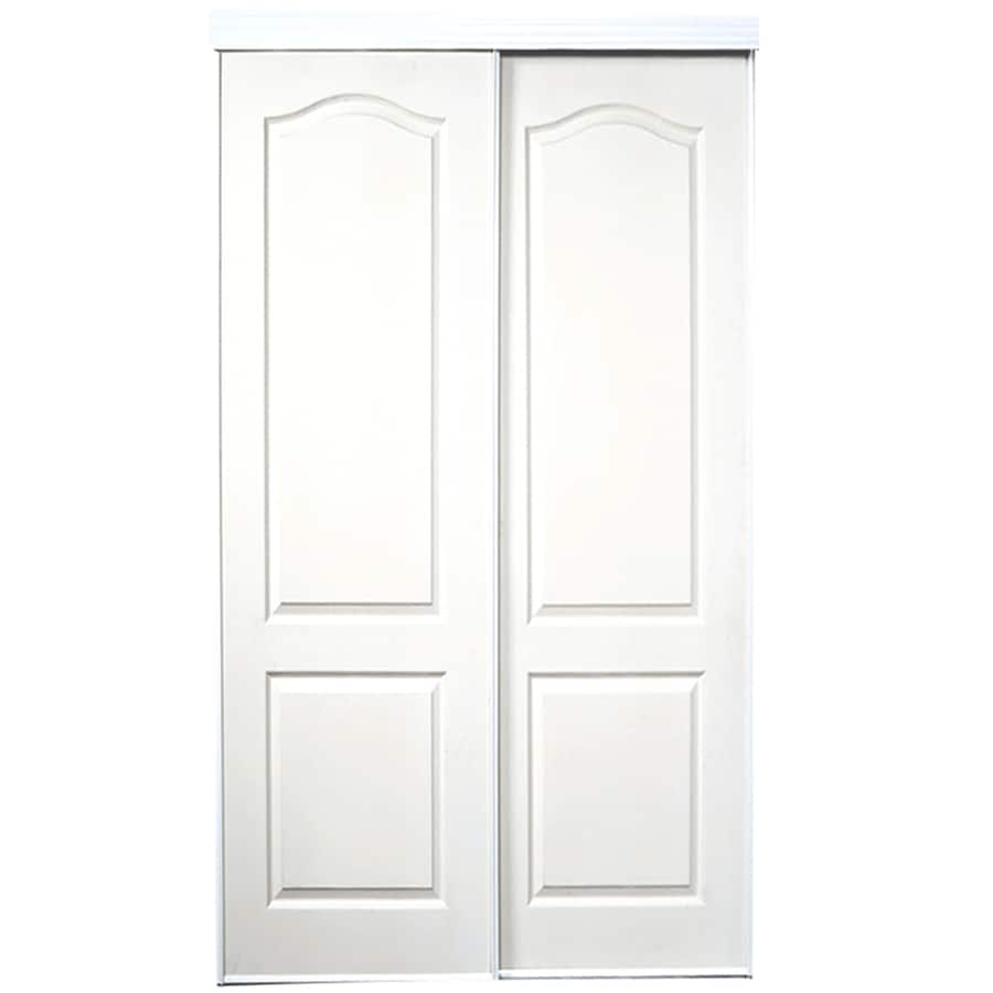 ReliaBilt White 2-Panel Arch Top Sliding Closet Interior Door (Common: 72-in x 80-in; Actual: 72-in x 78-in)