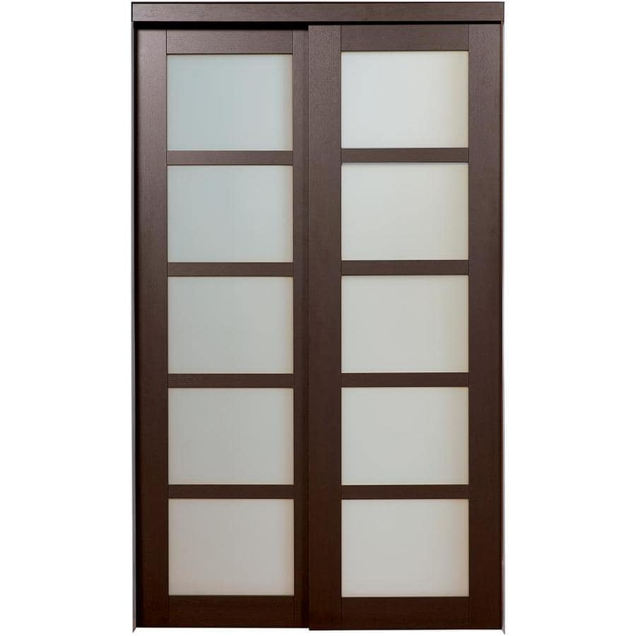 ReliaBilt 5-Lite Frosted Glass Sliding Closet Interior Door (Common: 60-in x 80-in; Actual: 60-in x 78.6875-in)