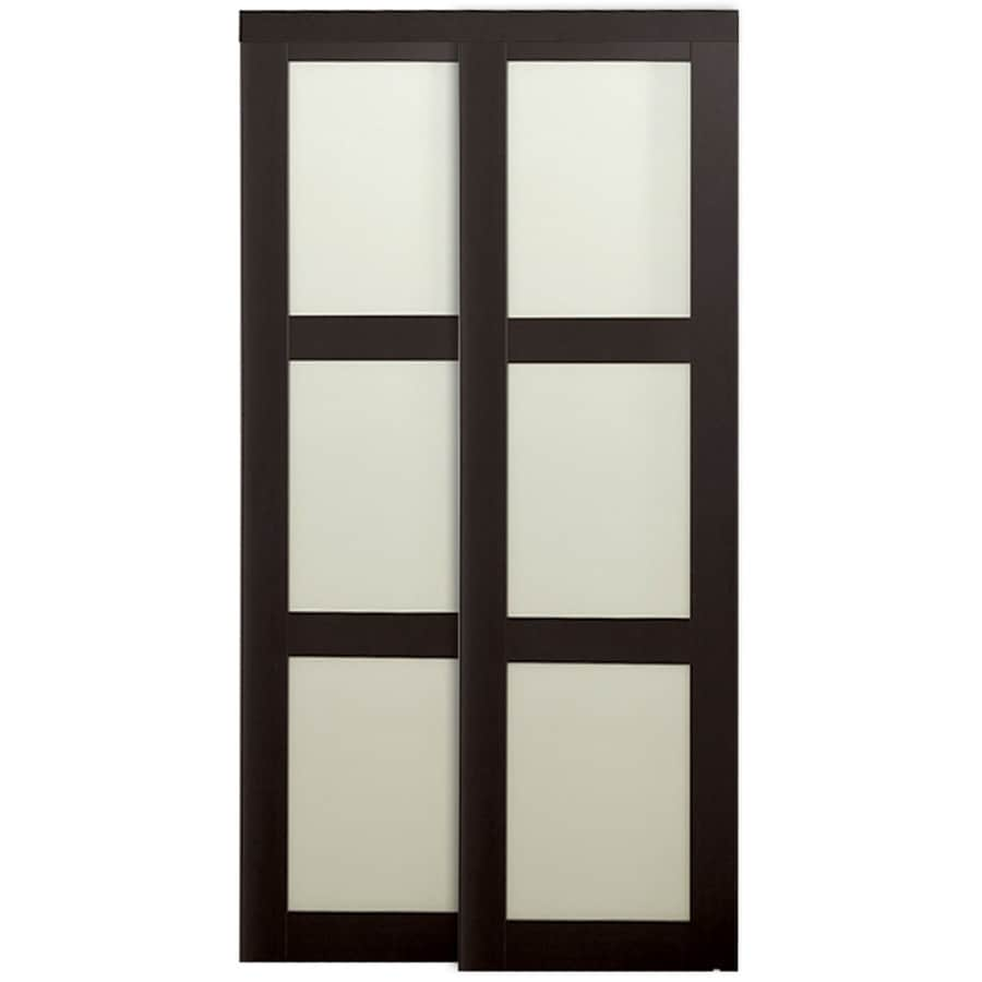 KingStar 3-Lite Frosted Glass Sliding Closet Interior Door (Common: 48-in x 80-in; Actual: 48-in x 78.6875-in)