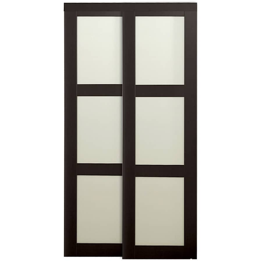 KingStar 3-Lite Frosted Glass Sliding Closet Interior Door (Common: 72-in x 80-in; Actual: 72-in x 78.6875-in)