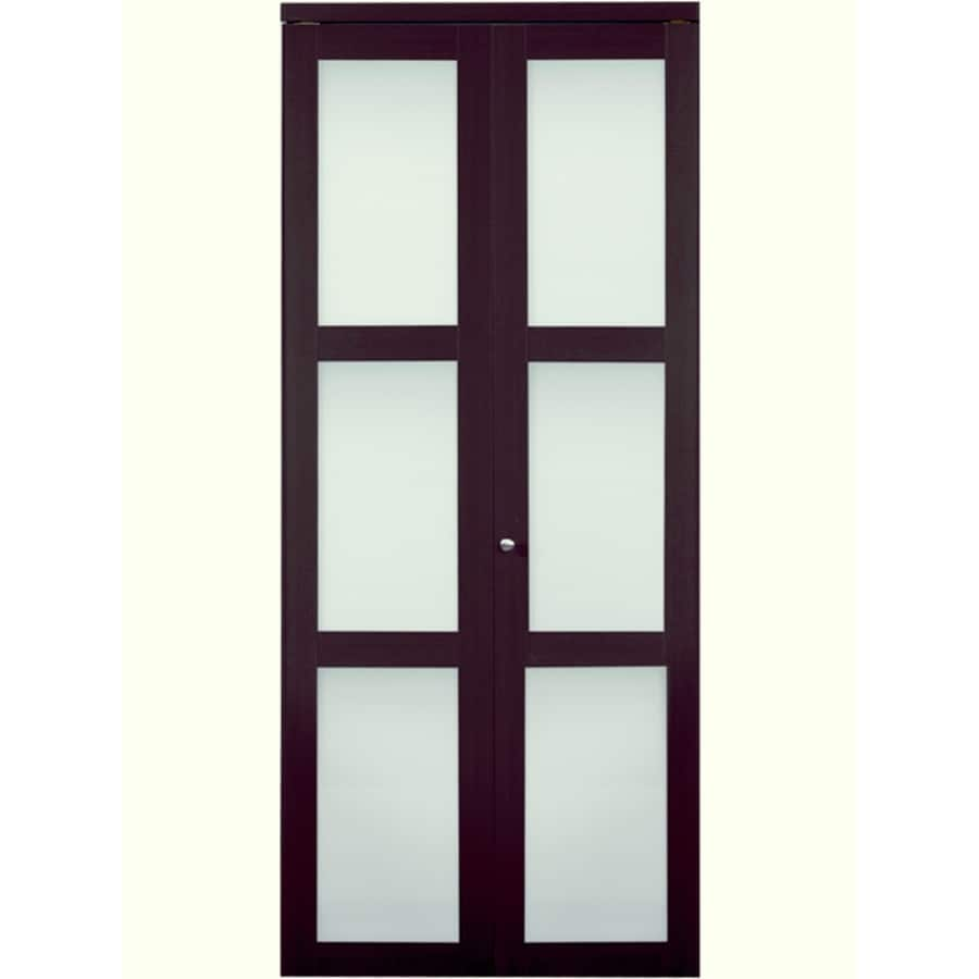 Shop ReliaBilt Frosted Glass MDF Bi-Fold Closet Interior Door with ...