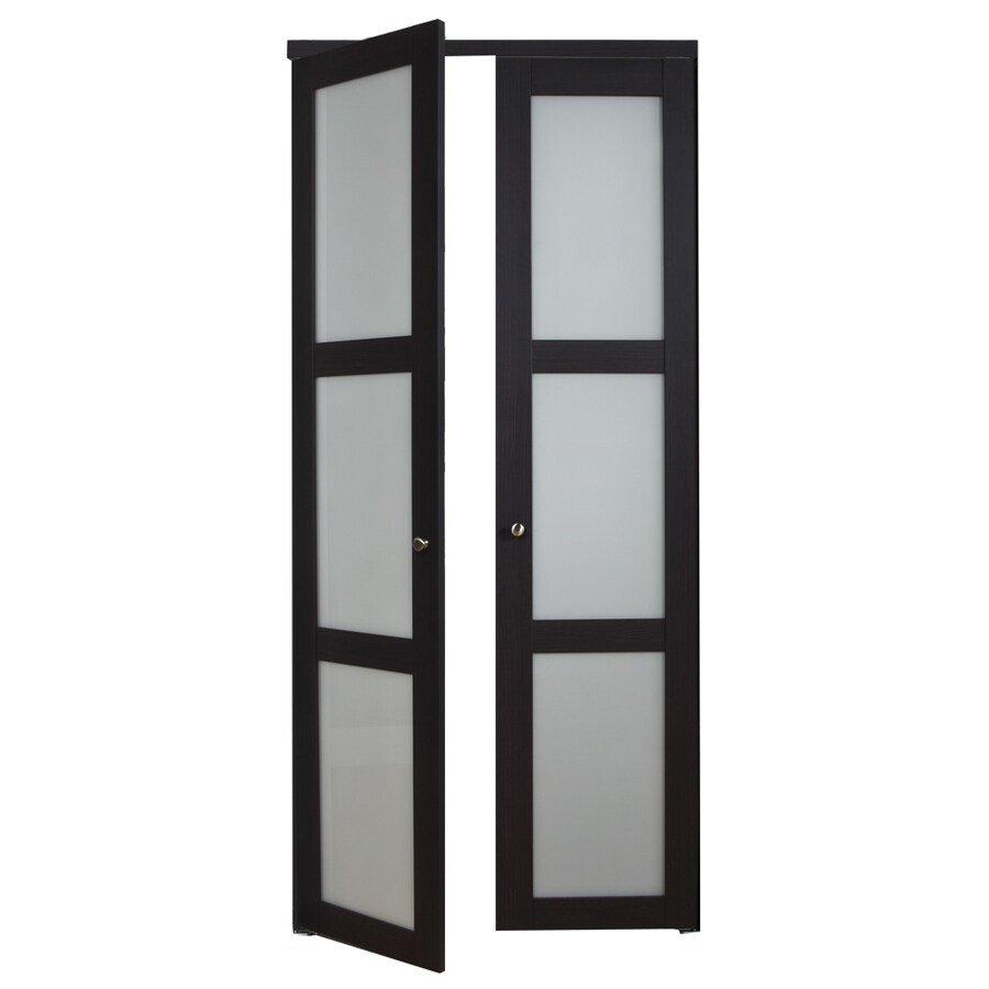 Shop ReliaBilt Frosted Glass MDF Pivot Interior Door with Hardware