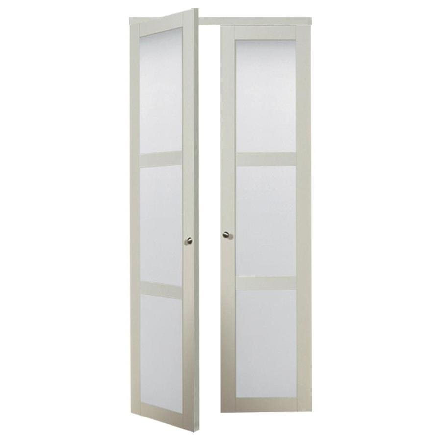 Shop ReliaBilt OffWhite Frosted Glass MDF Pivot Interior Door with