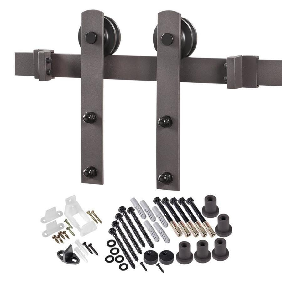 78.75-in Bronze Steel Top Mount Sliding Barn Door Kit