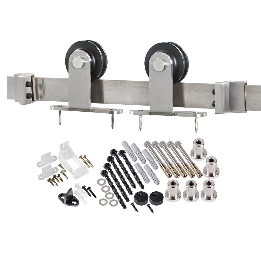 Shop 78 75 In Stainless Steel Steel Top Mount Sliding Barn Door Kit At Lowes Com