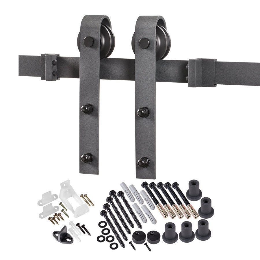 Shop matte black top mount barn door kit at lowescom for Barn door rollers lowes
