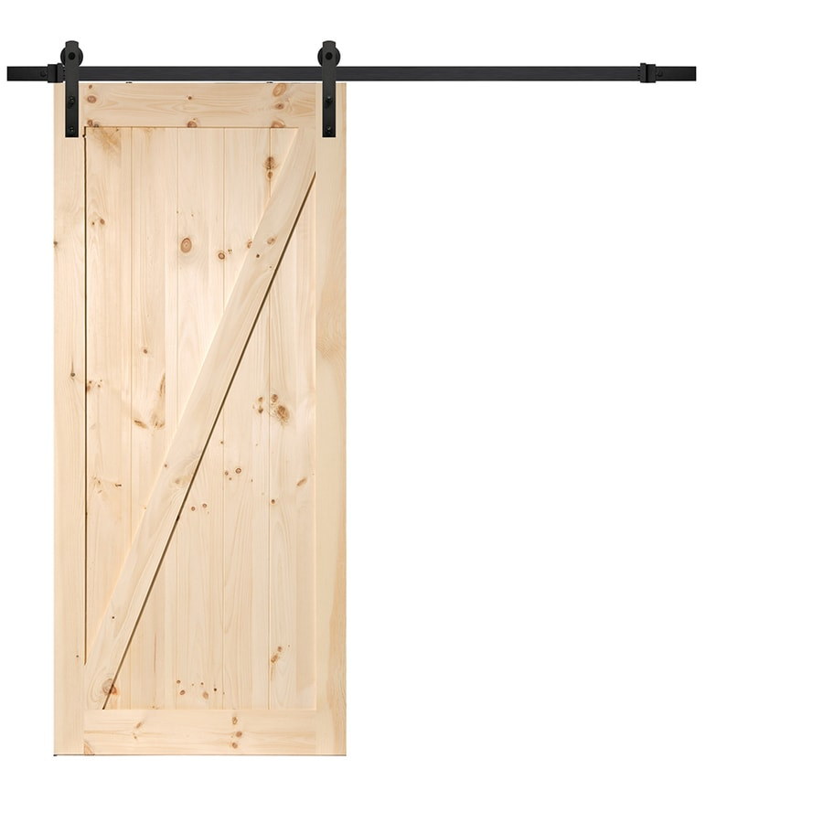 Solid Core Z-Frame Pine Barn Door (Common: 36-in x 84-in; Actual: 36-in x 84-in)