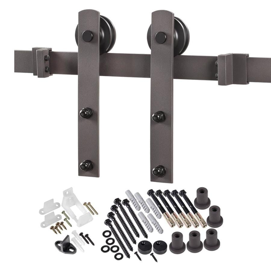 96-in Bronze Steel Top Mount Sliding Barn Door Kit