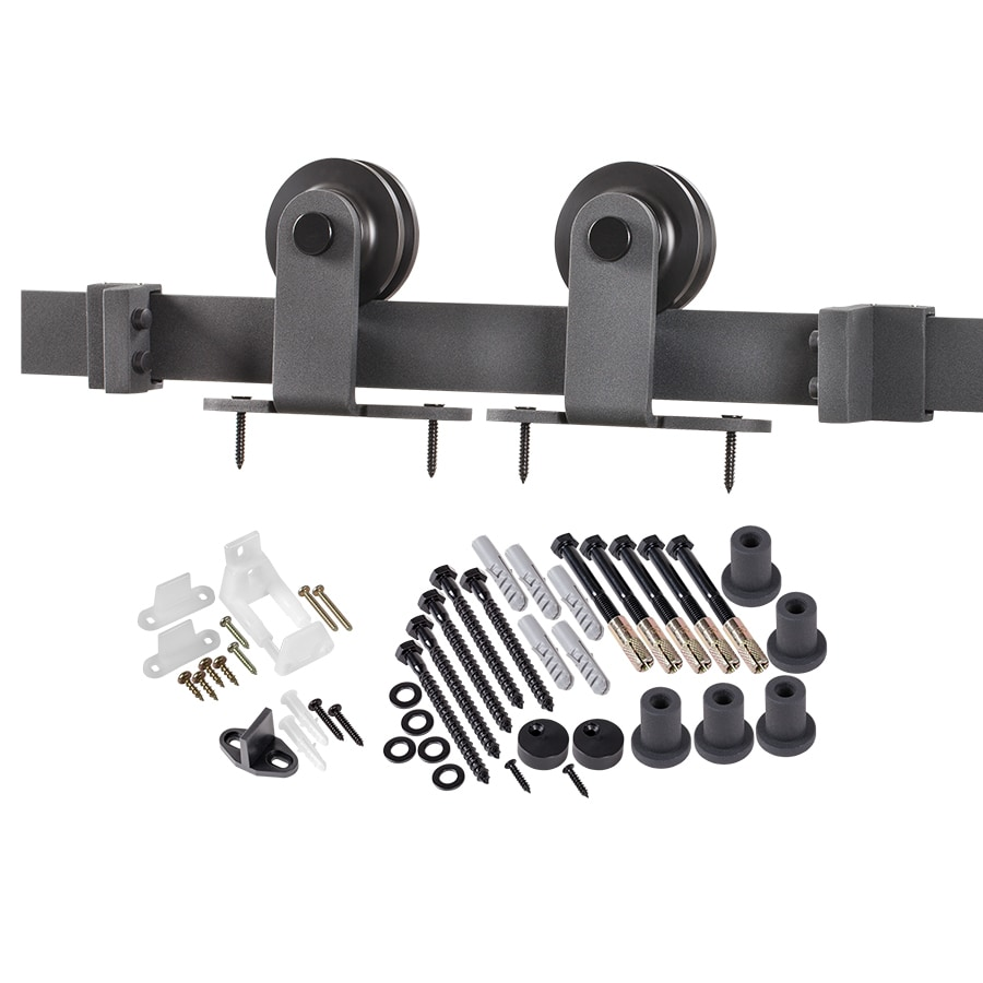 96-in Matte Black Steel Top Mount Sliding Barn Door Kit