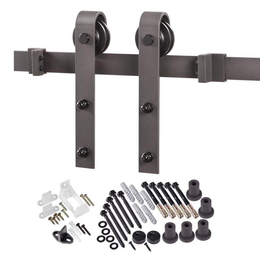 sliding door hardware. 96-in Bronze Steel Top Mount Sliding Barn Door Kit Hardware