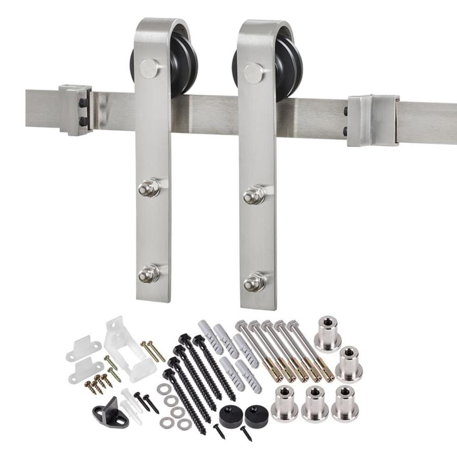 Shop 96 In Stainless Steel Top Mount Sliding Barn Door Kit