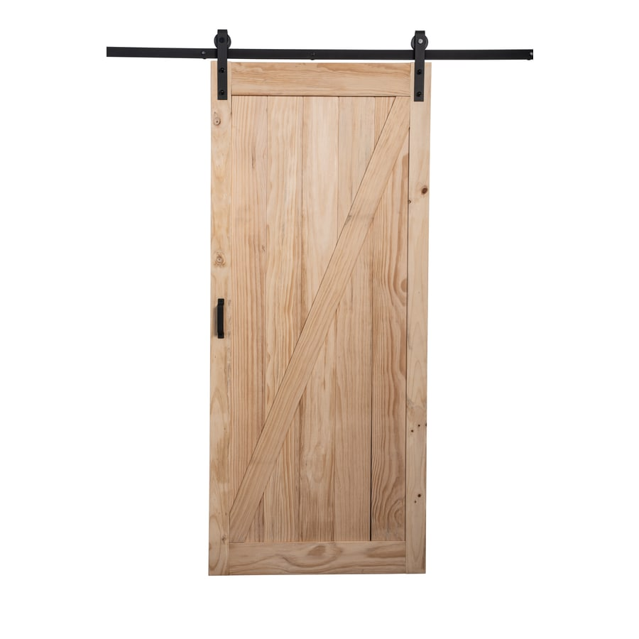 ReliaBilt Pine Wood Solid Core Barn Door with Hardware (Common 36-in X  sc 1 st  Lowe\u0027s & Shop ReliaBilt Pine Wood Solid Core Barn Door with Hardware (Common ...