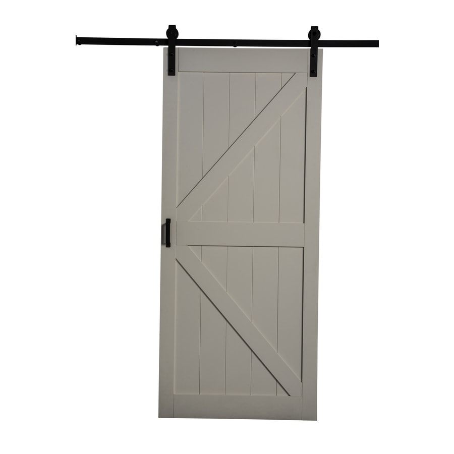 ReliaBilt Off White Solid Core Soft Close MDF Barn Interior Door With  Hardware