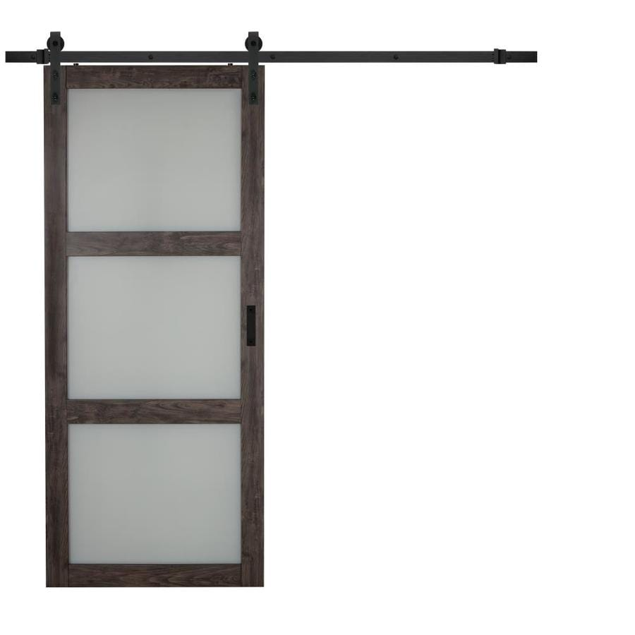 Shop iron aged grey 3 lite frosted glass sliding barn for Sliding panel doors interior