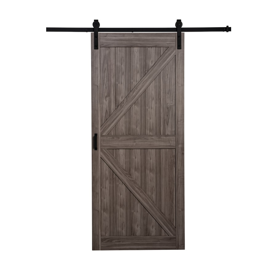 Glass interior doors lowes - Iron Aged Grey Solid Core K Frame Barn Interior Door Common 36