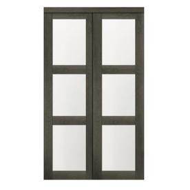 ReliaBilt 3 LITE 2460 Slider Gray MDF Sliding Closet Door With Hardware  (Common: