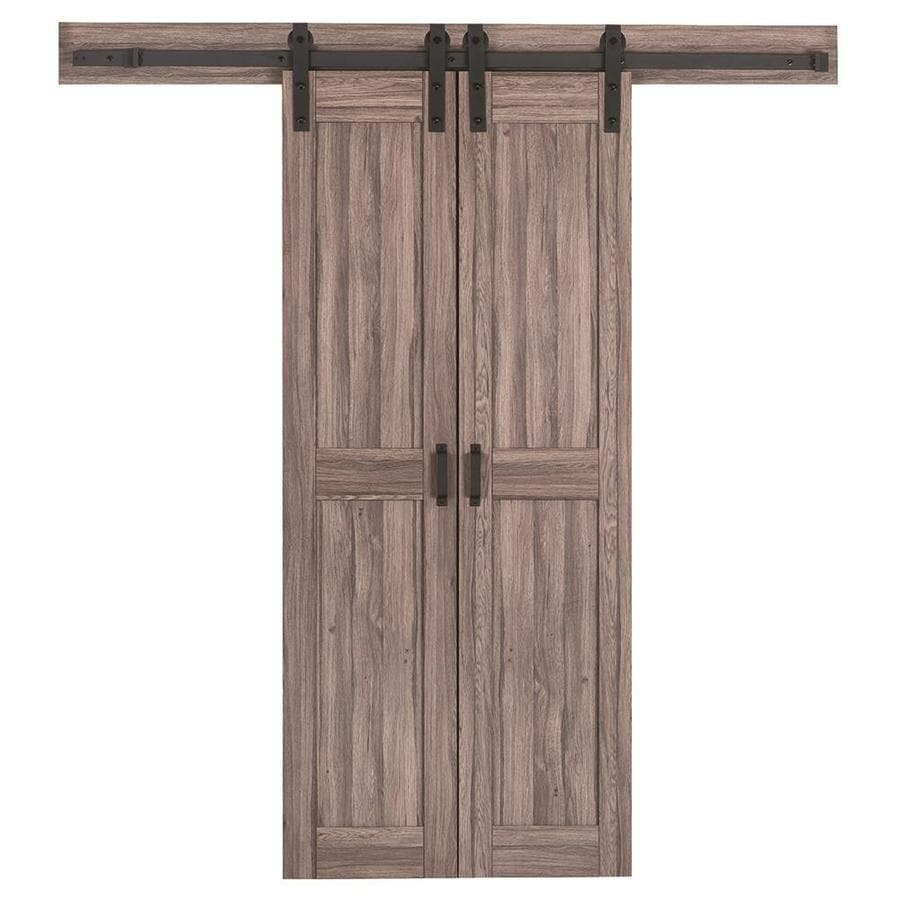 reliabilt brown solid core mdf barn interior door with hardware common 36 in - Interior Doors