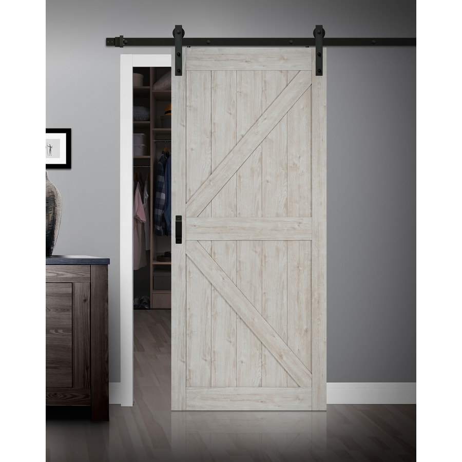 ReliaBilt Sandstone Gray K-Frame Barn Interior Door (Common: 36-in x 84-in; Actual: 36-in x 84-in)