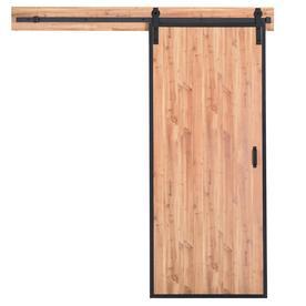 ReliaBilt Reliabilt Metal Frame Barn Door Natural Pine Prefinished MDF Barn  Door Kit Hardware Included (