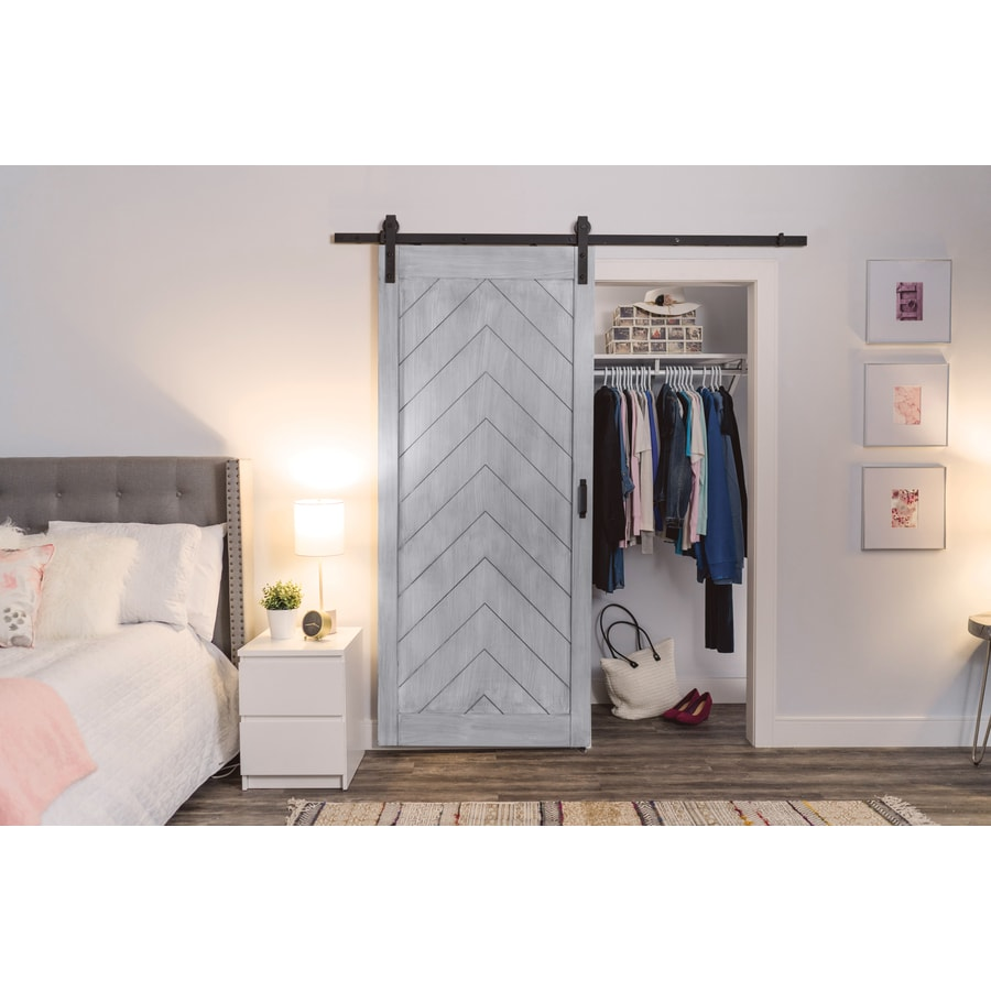 ReliaBilt Stained Solid Core Soft Close Pine Barn Interior Door with Hardware (Common: 36-in x 84-in; Actual: 36-in x 84-in)