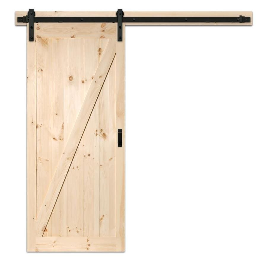 Reliabilt 42 In X 84 In Pine Z Frame Unfinished Pine Wood Single Barn Door Hardware Included In The Barn Doors Department At Lowes Com