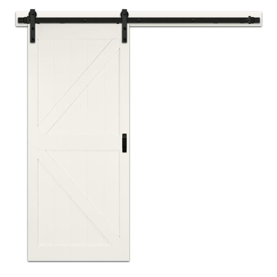 Shop Reliabilt Off White K Frame Soft Close Barn Interior Door Common 42 In X 84 In Actual