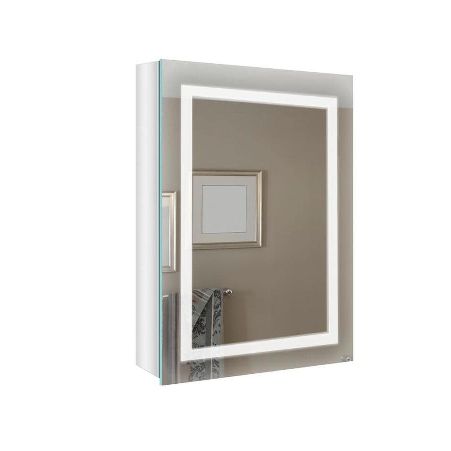 Renin 20 In X 27 5 In Lighted Led Corner Glass Mirrored Rectangle Medicine Cabinet In The Medicine Cabinets Department At Lowes Com