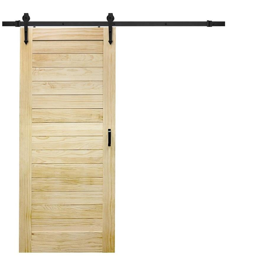 Shop reliabilt solid core pine barn interior door with for Barn door screen door