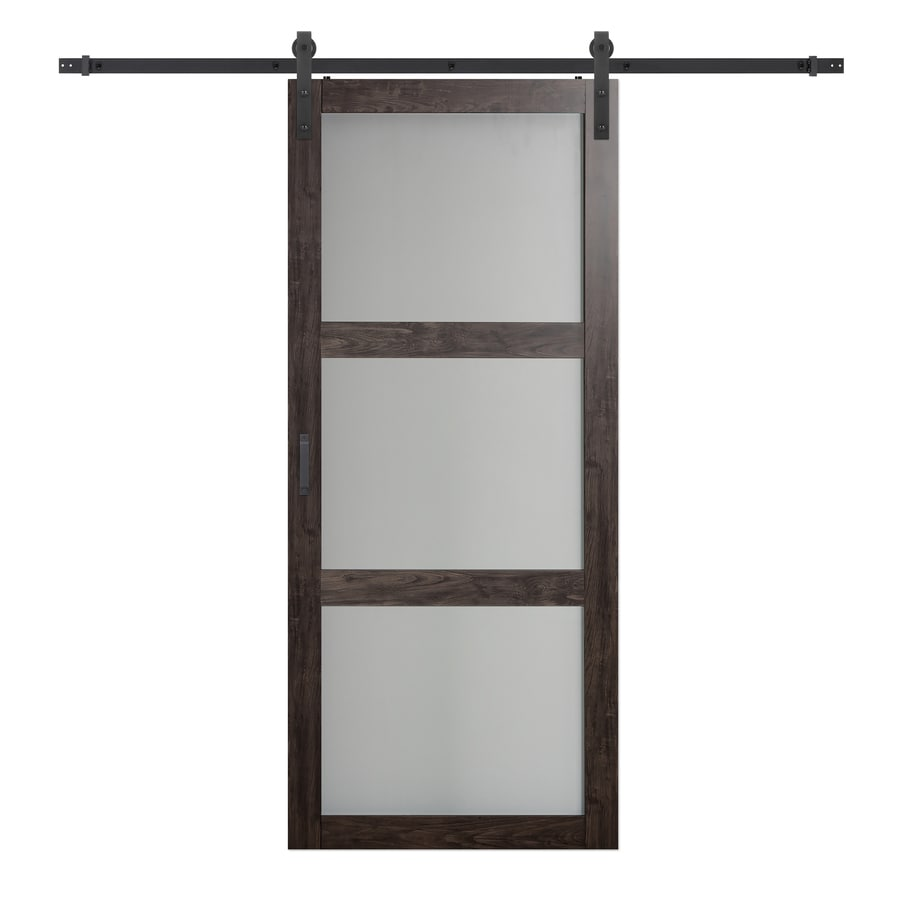 Shop iron aged grey solid core frosted glass mdf barn for Solid core mdf interior doors