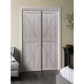 Erias Home Designs Paneled Manufactured Wood Trident Sliding Closet Door