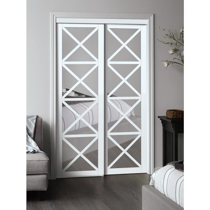 Reliabilt 48 In X 80 In White Flush Mirrored Glass Prefinished Mdf Sliding Door Hardware Included In The Closet Doors Department At Lowes Com