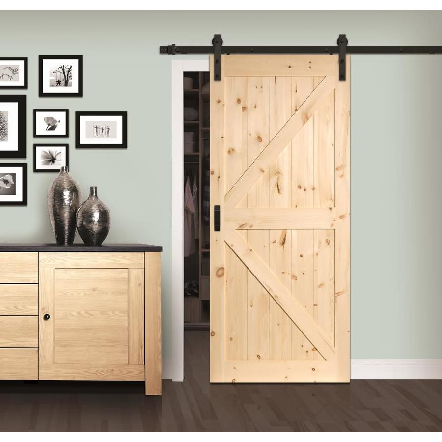 Reliabilt Sierra 36 In X 84 In Pine K Frame Unfinished Pine Wood Single Barn Door Hardware Included In The Barn Doors Department At Lowes Com