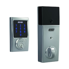 Schlage BE469 Connect Century Polished Chrome Single-Cylinder Deadbolt 1-Cylinder Electronic Deadbolt Lighted Keypad Touchscreen Built-In Z-Wave
