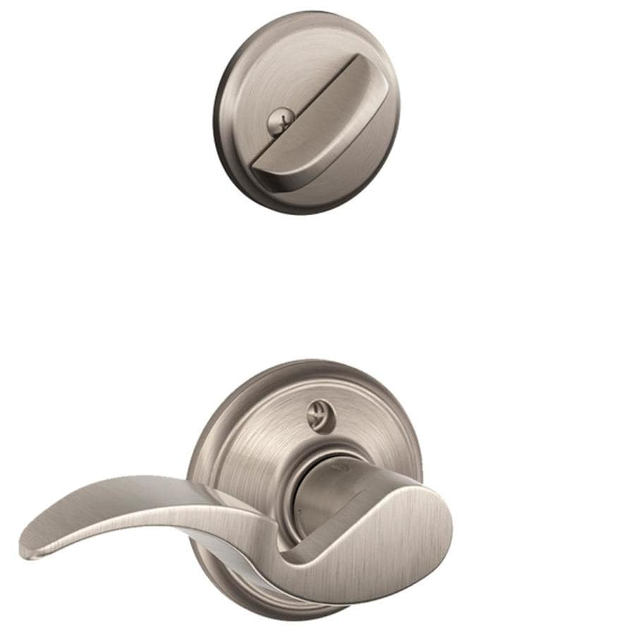 Schlage Avanti 1-5/8-in to 1-3/4-in Satin Nickel Single Cylinder Lever Entry Door Interior Handle