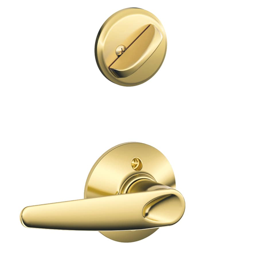 Schlage Jazz 1-5/8-in to 1-3/4-in Bright Brass Single Cylinder Lever Entry Door Interior Handle