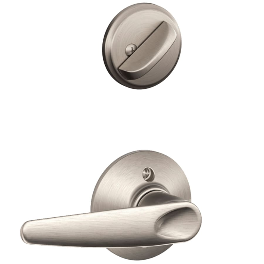 Shop Schlage Jazz 1 5 8 In To 1 3 4 In Satin Nickel Single Cylinder Lever Entry Door Interior