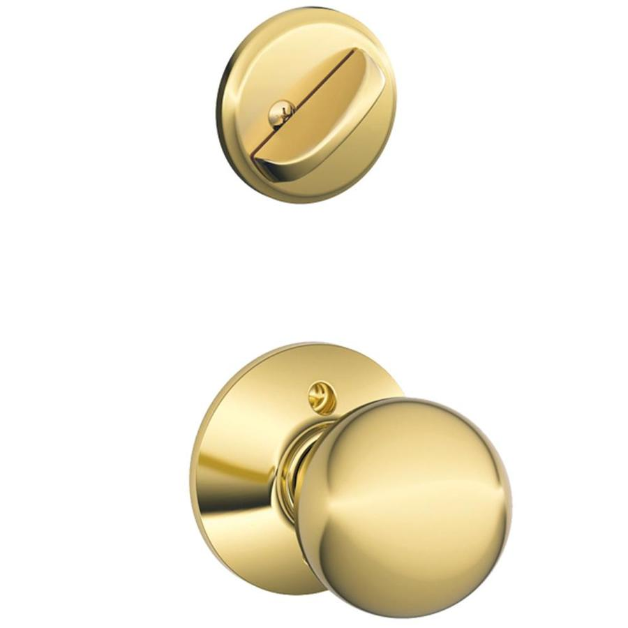 Schlage Orbit 1-5/8-in to 1-3/4-in Bright Brass Single Cylinder Knob Entry Door Interior Handle