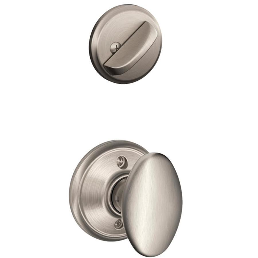 Schlage Siena 1-5/8-in to 1-3/4-in Satin Nickel Single Cylinder Knob Entry Door Interior Handle