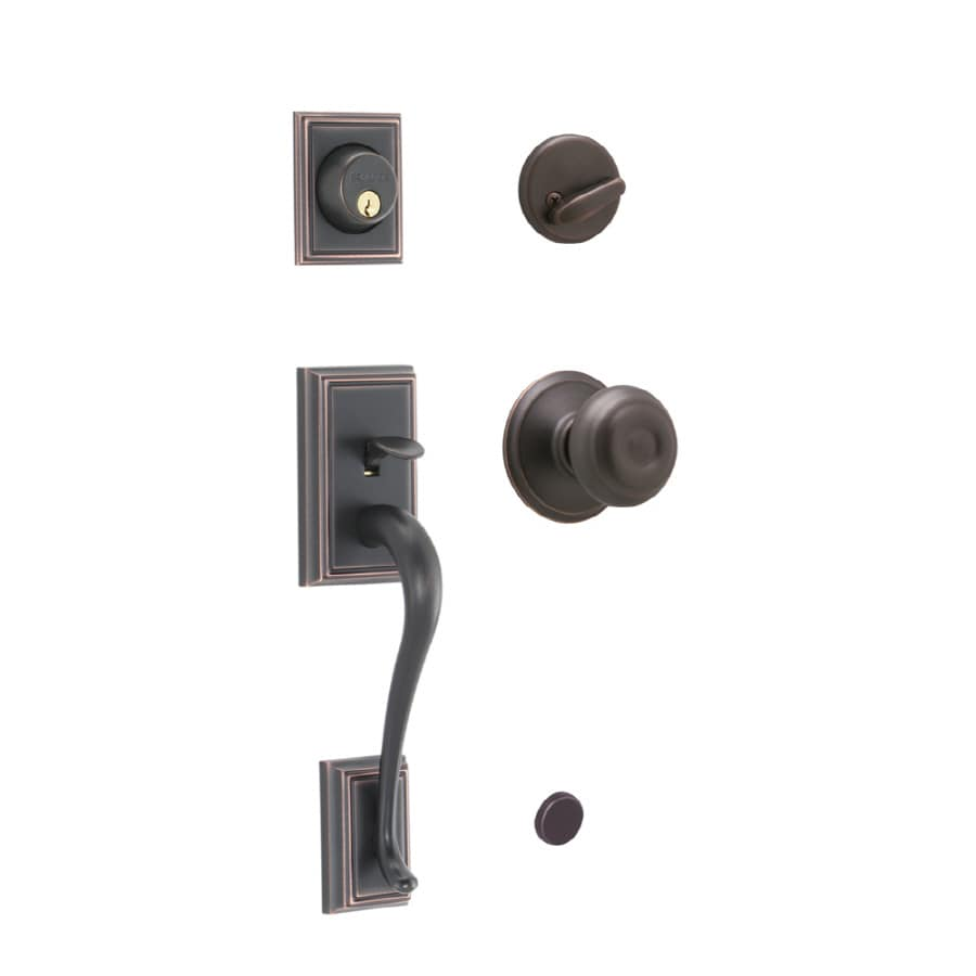 Schlage Addison Aged Bronze Single-Lock Keyed Entry Door Handleset