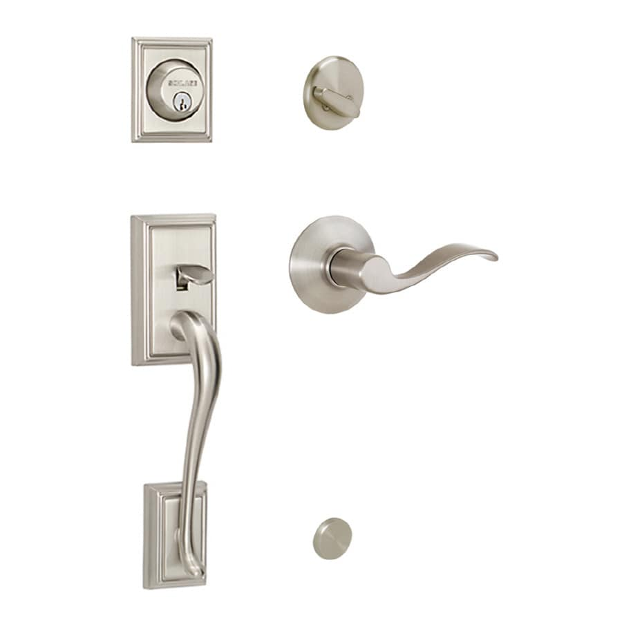 Shop schlage addison satin nickel traditional keyed entry for Door handle with lock