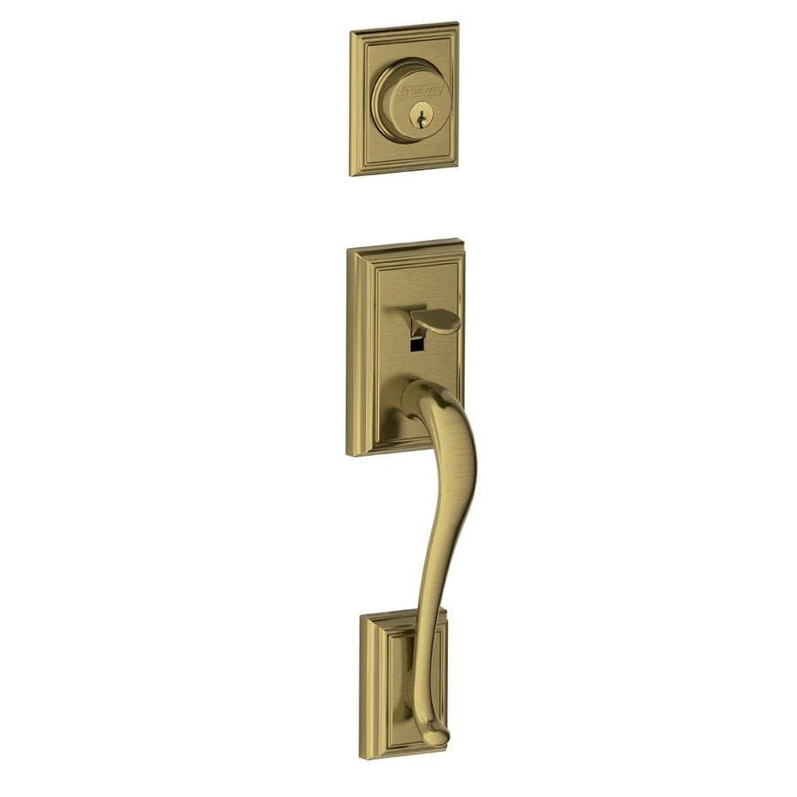 Shop schlage f addison antique brass single cylinder deadbolt entry door exterior handle at for Exterior door handle and lock set