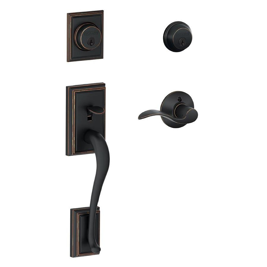 Schlage F Addison x Accent Lever Aged Bronze Dual-Lock Keyed Entry Door Handleset