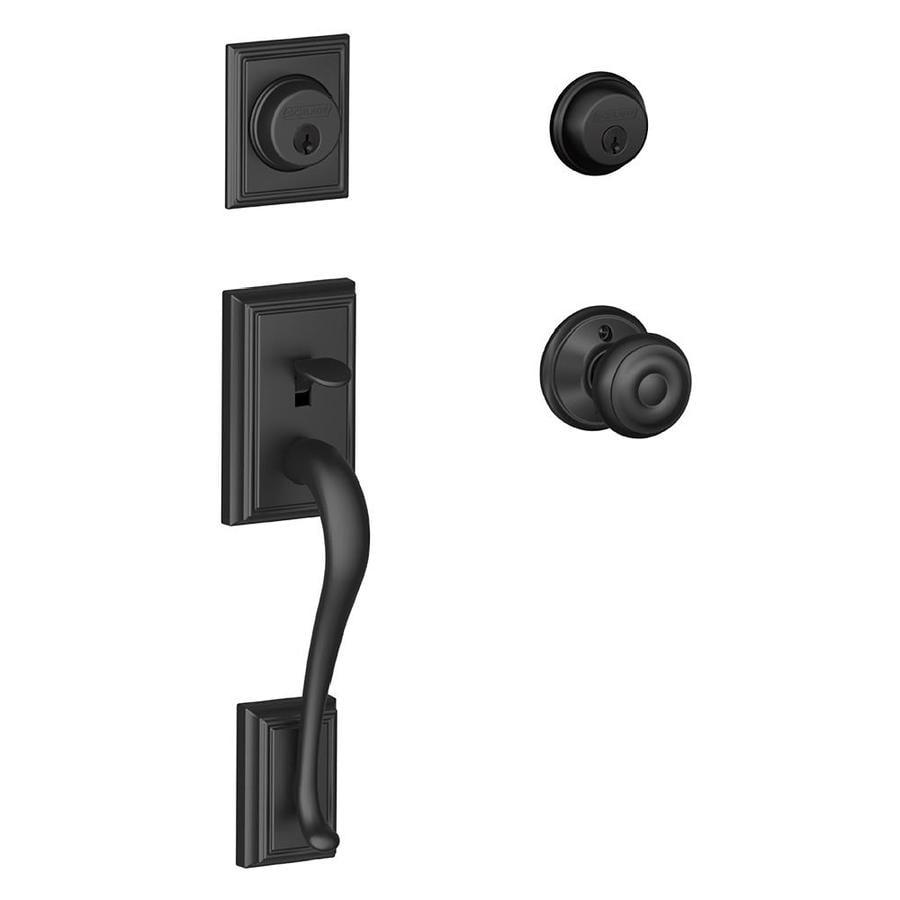 Schlage F Addison x Georgian Knob Matte Black Dual-Lock Keyed Entry Door Handleset